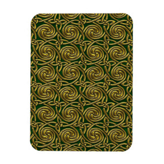 Gold And Green Celtic Spiral Knots Pattern Magnet
