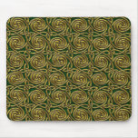 Gold And Green Celtic Spiral Knots Pattern Mouse Pad
