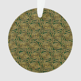 Gold And Green Celtic Spiral Knots Pattern Ornament