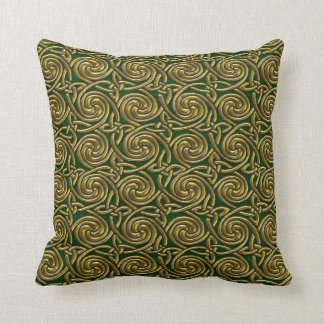 Gold And Green Celtic Spiral Knots Pattern Throw Pillow