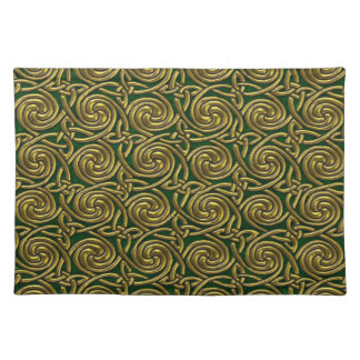 Gold And Green Celtic Spiral Knots Pattern Placemats