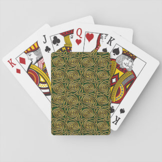 Gold And Green Celtic Spiral Knots Pattern Playing Cards