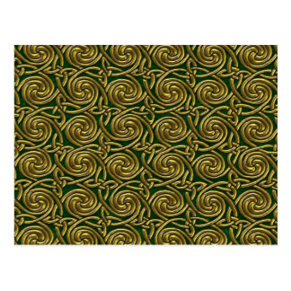Gold And Green Celtic Spiral Knots Pattern Postcard