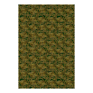 Gold And Green Celtic Spiral Knots Pattern Poster