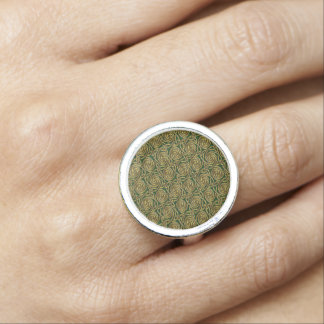 Gold And Green Celtic Spiral Knots Pattern Rings