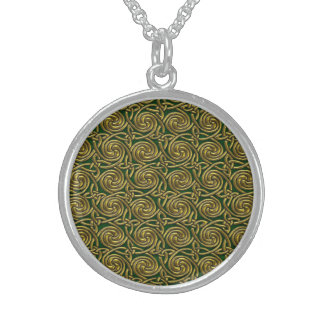 Gold And Green Celtic Spiral Knots Pattern Round Pendant Necklace