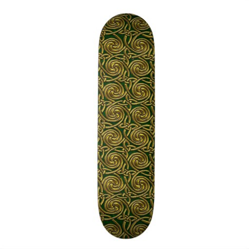 Gold And Green Celtic Spiral Knots Pattern Skate Board