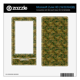 Gold And Green Celtic Spiral Knots Pattern Zune HD Decal