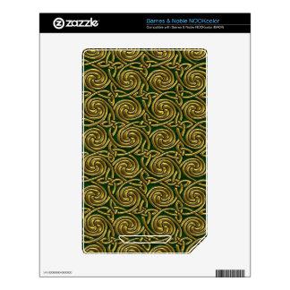 Gold And Green Celtic Spiral Knots Pattern Skins For NOOK Color