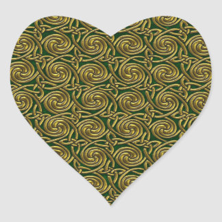 Gold And Green Celtic Spiral Knots Pattern Stickers