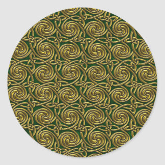 Gold And Green Celtic Spiral Knots Pattern Round Sticker