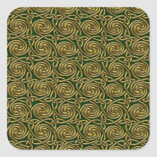 Gold And Green Celtic Spiral Knots Pattern Sticker