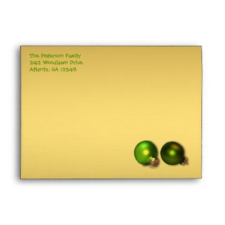 Gold and Green Christmas Envelope for 5