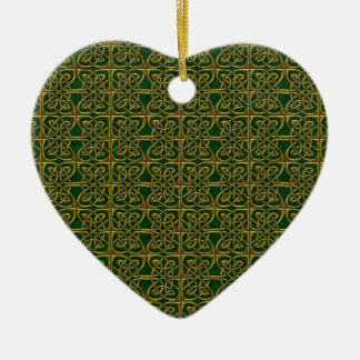 Gold And Green Connected Ovals Celtic Pattern Ceramic Ornament