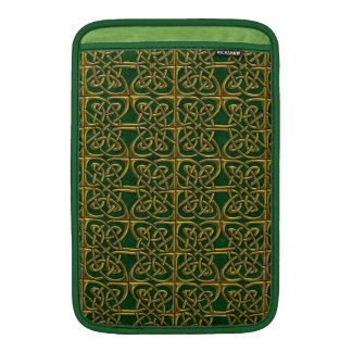 Gold And Green Connected Ovals Celtic Pattern MacBook Sleeve