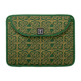 Gold And Green Connected Ovals Celtic Pattern MacBook Pro Sleeve