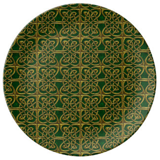 Gold And Green Connected Ovals Celtic Pattern Porcelain Plate
