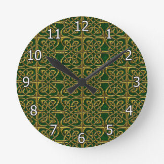 Gold And Green Connected Ovals Celtic Pattern Round Clock