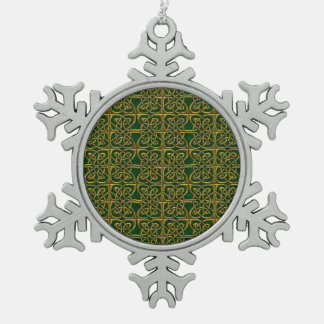 Gold And Green Connected Ovals Celtic Pattern Snowflake Pewter Christmas Ornament