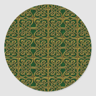 Gold And Green Connected Ovals Celtic Pattern Stickers