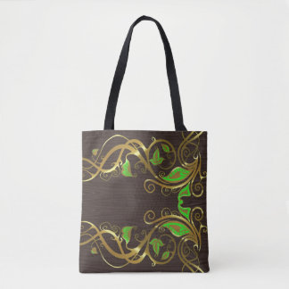 Gold And Green Floral Swirls Tote Bag