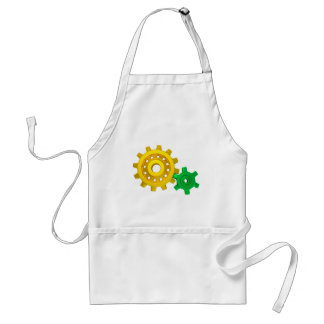 Gold and green gears adult apron