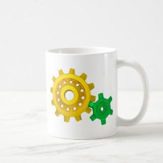 Gold and green gears coffee mug