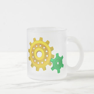 Gold and green gears frosted glass coffee mug