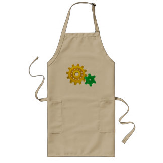 Gold and green gears long apron