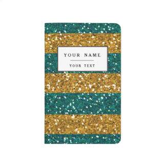Gold and Green Glitter Stripes Printed Journal