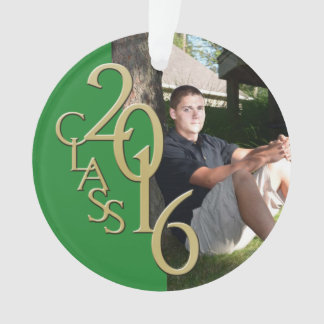 Gold and Green Grad Class of 2016 Photo Ornament