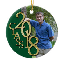 Gold and Green Graduation Class of 2018 Photo Ceramic Ornament