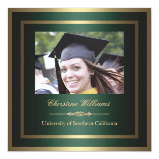Gold and Green Graduation Invitation