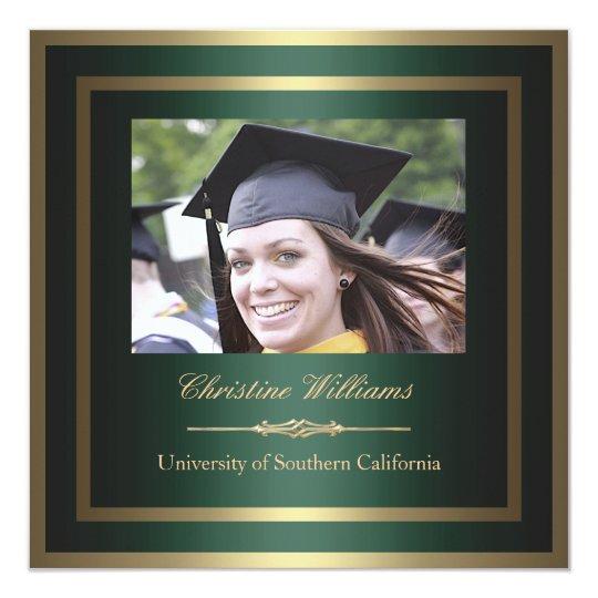 Gold and Green Graduation Invitation