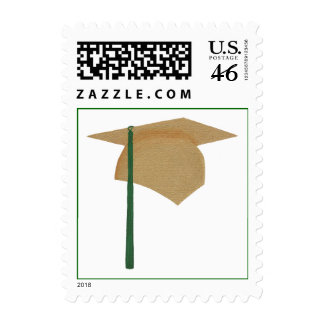 Gold and Green Graduation Stamps Cap and Tassel