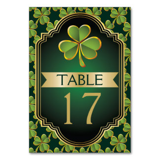 Gold and green Irish clover wedding table number Table Cards