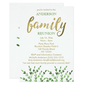 Gold and Green Leaf Family Reunion Card