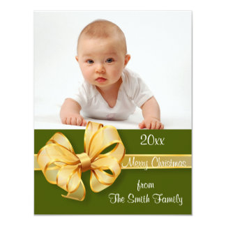 "Gold and Green Photo Christmas Card 4.25"" X 5.5"" Invitation Card"