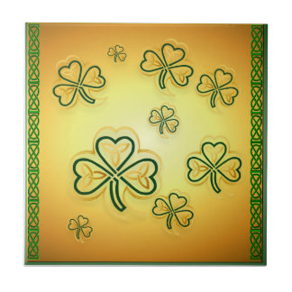 Gold and Green Shamrocks-2 Tiles