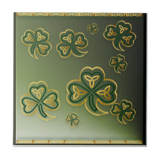 Gold and Green Shamrocks Tiles