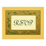 Gold and Green Vintage Flowers RSVP Large Customized Announcement Cards