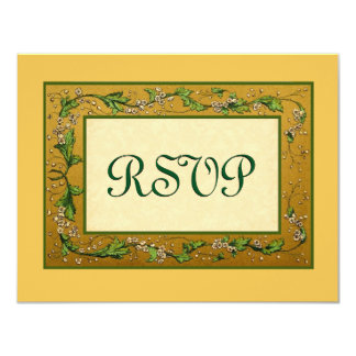Gold and Green Vintage Flowers RSVP Large 4.25x5.5 Paper Invitation Card