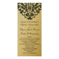 gold and green Wedding program