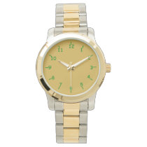Gold and Green Wrist Watch
