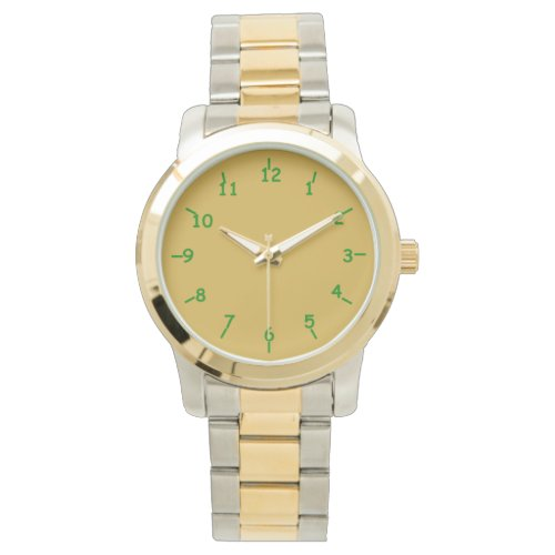 Gold and Green Wristwatch
