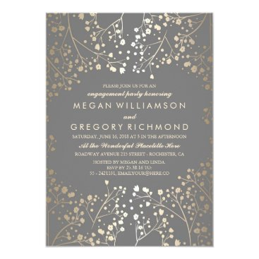 Toddler & Baby themed Gold and Grey Baby's Breath Engagement Party Card