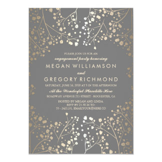Gold and Grey Baby's Breath Engagement Party Invitation