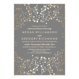 Gold and Grey Baby's Breath Rehearsal Dinner Invitation
