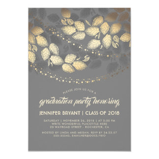 Gold and Grey Elegant Tree Lights Graduation Party Card