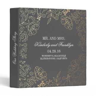Gold and Grey Floral Vintage Wedding Binder
